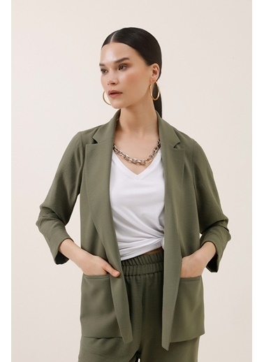 Gusto Rahat Kesim Blazer Ceket - Haki Rahat Kesim Blazer Ceket - Haki Haki